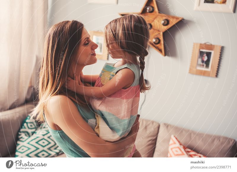 mother and toddler girl playing at home Woman Child Beautiful Joy Adults Lifestyle Love Family & Relations Small Together Modern Smiling Happiness Baby Cute