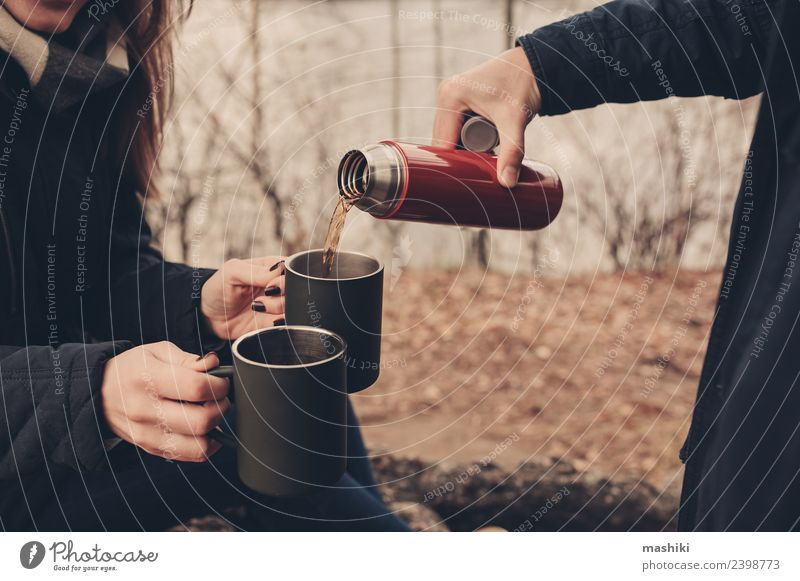 happy couple drinking hot tea outdoor Tea Lifestyle Joy Happy Knit Vacation & Travel Camping Woman Adults Man Family & Relations Friendship Couple Nature Autumn