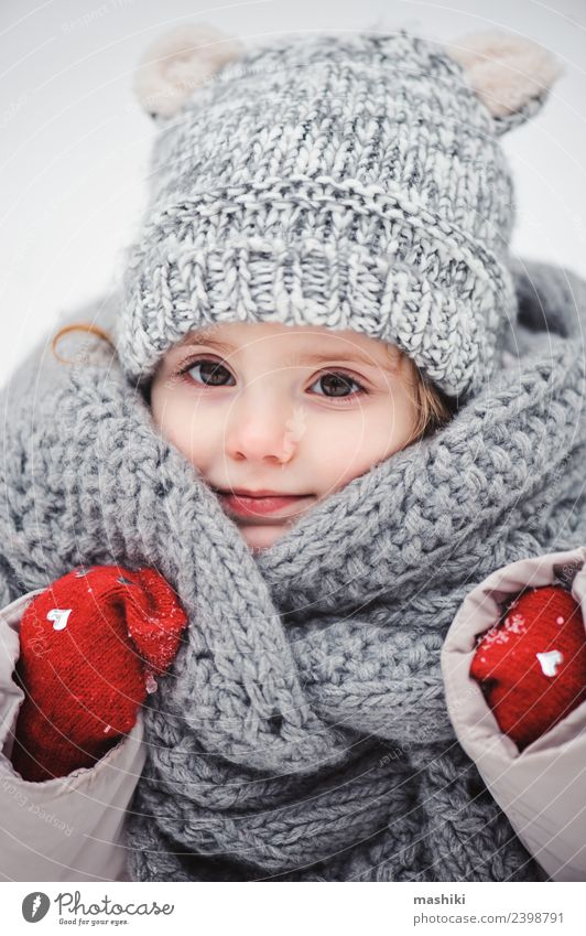 cute baby girl in knitted scarf walking in winter Style Joy Happy Beautiful Playing Knit Winter Snow Child Infancy Weather Forest Fashion Coat Scarf Hat Smiling
