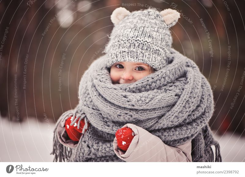 baby girl walking in winter forest Child Beautiful White Joy Winter Forest Snow Style Happy Small Playing Fashion Weather Infancy Action Smiling
