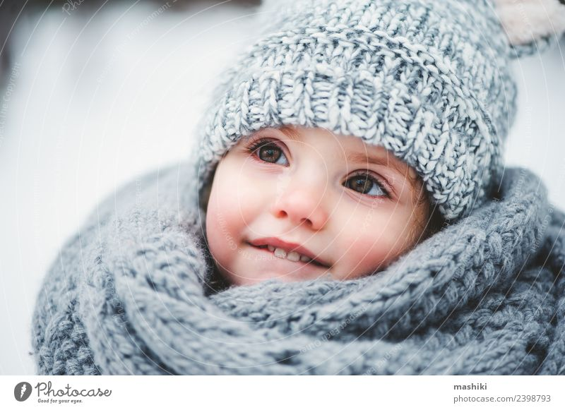 baby girl walking in winter forest Style Joy Happy Beautiful Playing Knit Winter Snow Child Infancy Weather Forest Fashion Coat Scarf Hat Smiling Small Cute