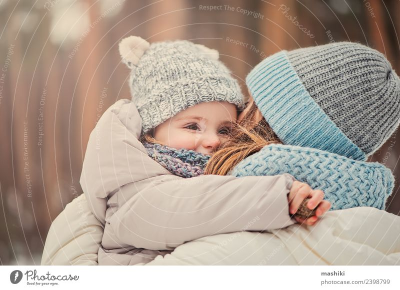 mother and baby on winter walk Lifestyle Joy Vacation & Travel Winter Snow Child Toddler Woman Adults Parents Mother Family & Relations Friendship Infancy