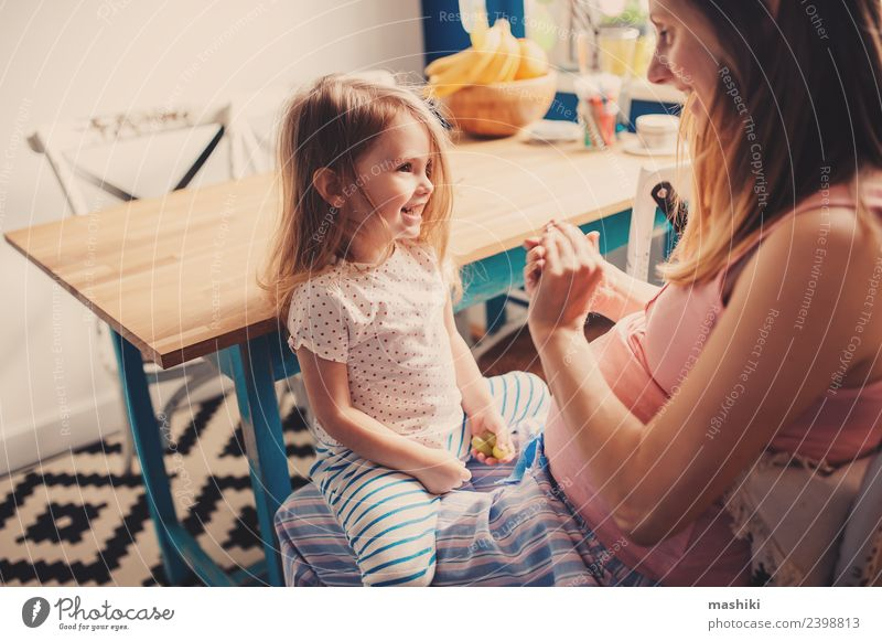 happy toddler girl playing with pregnant mother Child Blue Beautiful Joy Adults Love Family & Relations Laughter Happy Small Playing Together Blonde Sit