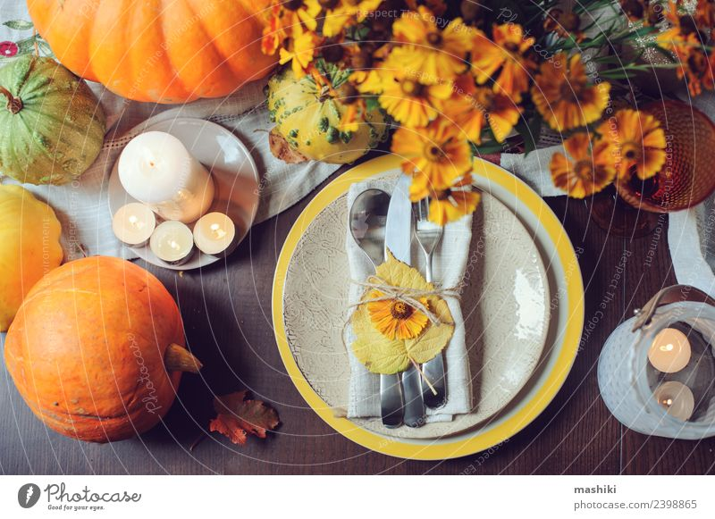 autumn traditional seasonal table setting Vegetable Fruit Dinner Banquet Plate Cutlery Style Decoration Table Restaurant Feasts & Celebrations Thanksgiving