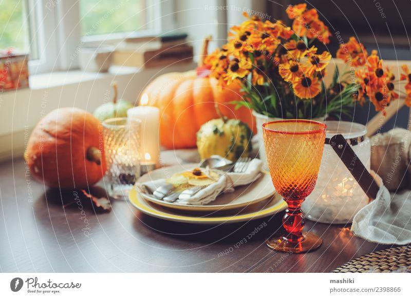 autumn traditional seasonal table setting Vegetable Dinner Plate Cutlery Decoration Table Feasts & Celebrations Thanksgiving Hallowe'en Autumn Flower Leaf