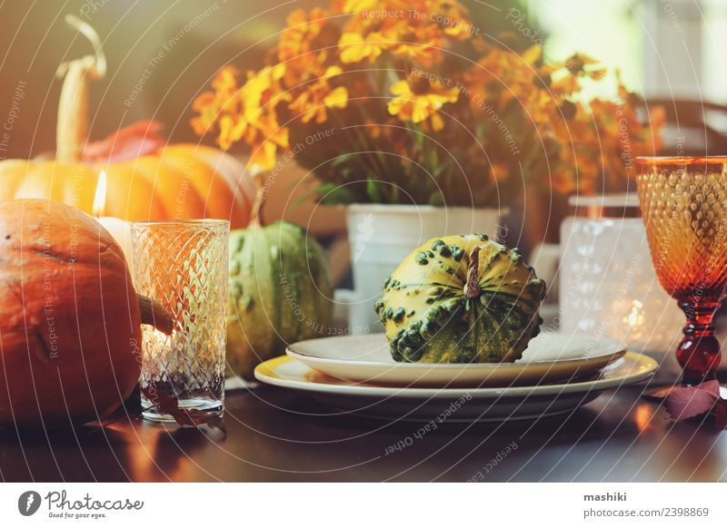 autumn traditional table setting for Thanksgiving Vegetable Dinner Plate Style Decoration Table Feasts & Celebrations Hallowe'en Autumn Flower Leaf Places