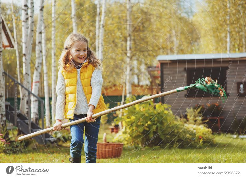 happy child girl raking autumn leaves Joy Playing Garden Child Work and employment Gardening Tool Autumn Tree Grass Leaf Natural Yellow help Gardener Helper kid