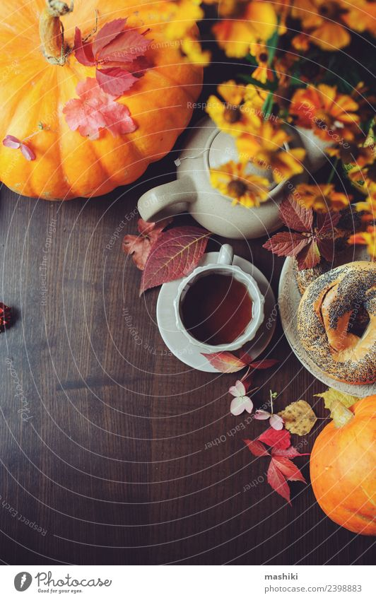 top view of cozy autumn breakfast on table Breakfast Beverage Tea Pot Lifestyle Relaxation Decoration Table Autumn Warmth Leaf Forest Safety (feeling of)