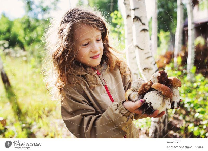 child girl picking wild mushrooms Child Girl 8 - 13 years Infancy Nature Plant Summer Autumn Tree To enjoy Hunting Smiling Walking Mushroom picker Forest