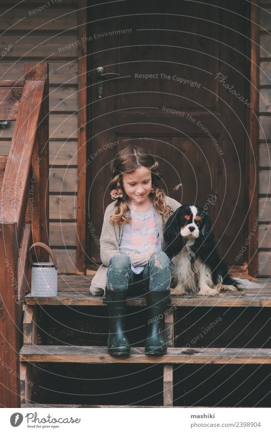 child girl with her dog at cabin porch Child Nature Vacation & Travel Dog House (Residential Structure) Natural Wood Building Playing Friendship Dream Infancy