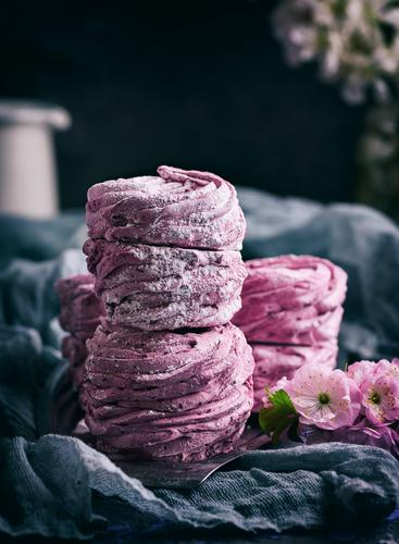 marshmallows with black currants Dessert Candy Natural Above Soft Gray Pink Mousse Napkin Airy background cake Confectionary Cooking cream food Home-made