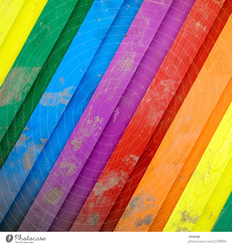 Spectrum Happy Facade Wood Line Illuminate Dirty Beautiful Multicoloured Colour Spectral Colour photo Exterior shot Close-up Structures and shapes Deserted