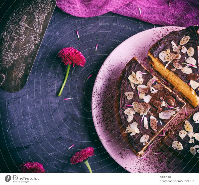 three pieces of cheesecake Cheese Dessert Candy Plate Restaurant Flower Eating Fresh Delicious Above Pink Black White Almond background Baking Bakery chocolate