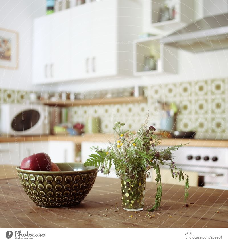 kitchen Fruit Apple Bowl Living or residing Flat (apartment) Decoration Table Kitchen Vase Bouquet Friendliness Bright Brown Green White Colour photo