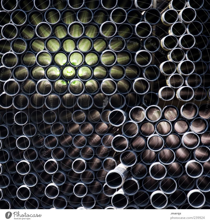 distort Pipe Straw Dark Many Crazy Black Chaos Distorted Circle Grid Dynamics Plastic Complex Creativity Infinity Attachment Colour photo Close-up Abstract