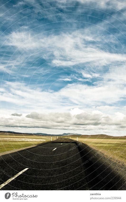Sky Blue White Summer Loneliness Clouds Black Calm Far-off places Landscape Street Lanes & trails Horizon Change Beautiful weather Asphalt