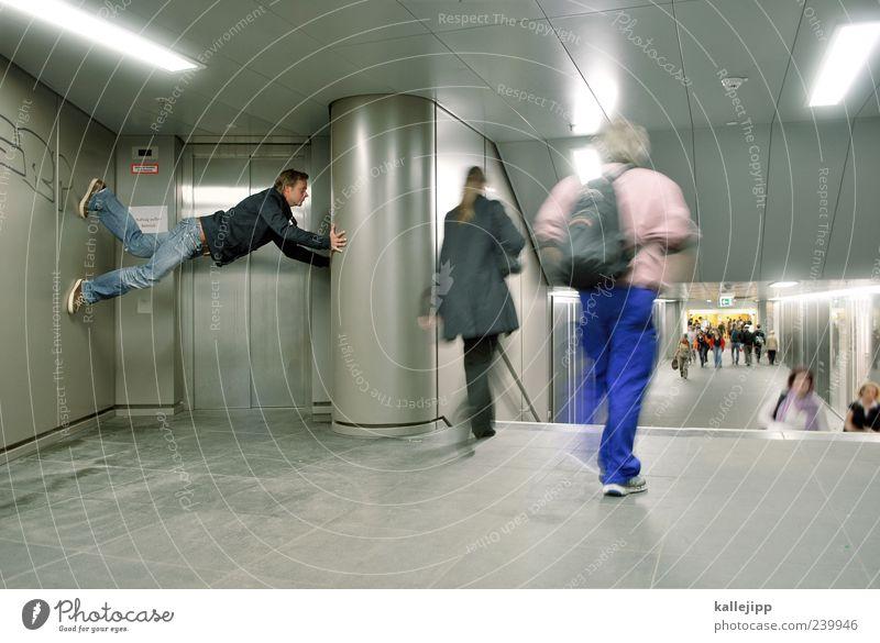 rush hour Human being 1 Tunnel Transport Traffic infrastructure Passenger traffic Pedestrian Underpass Steel Underground Colour photo Interior shot