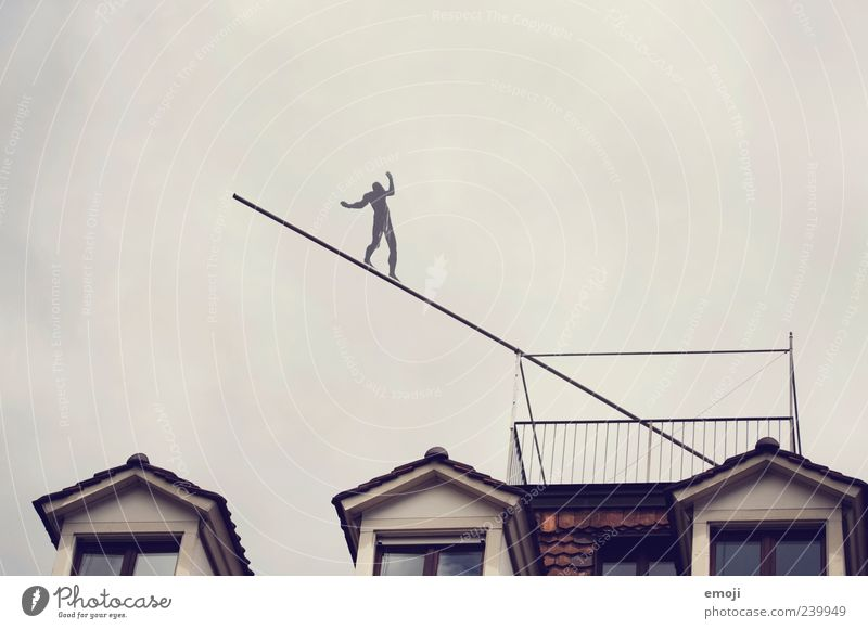 the balancing act between 1 Human being Sky House (Residential Structure) Window Gray Balance Height Installations Art False Brave Test of courage Risk