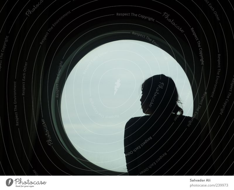 What are we dreaming about? Feminine Young woman Youth (Young adults) Cruise Cruise liner Glass Metal Beautiful Gray Emotions Wanderlust Meditative Silhouette