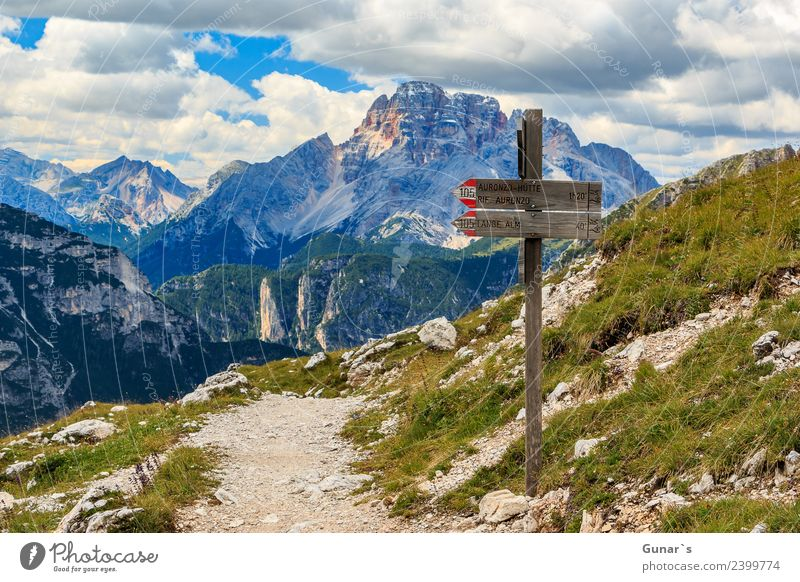 """Signpost and view to """"Hohe Gaisl Relaxation Vacation & Travel Tourism Trip Adventure Far-off places Freedom Camping Summer Summer vacation Mountain Hiking"""