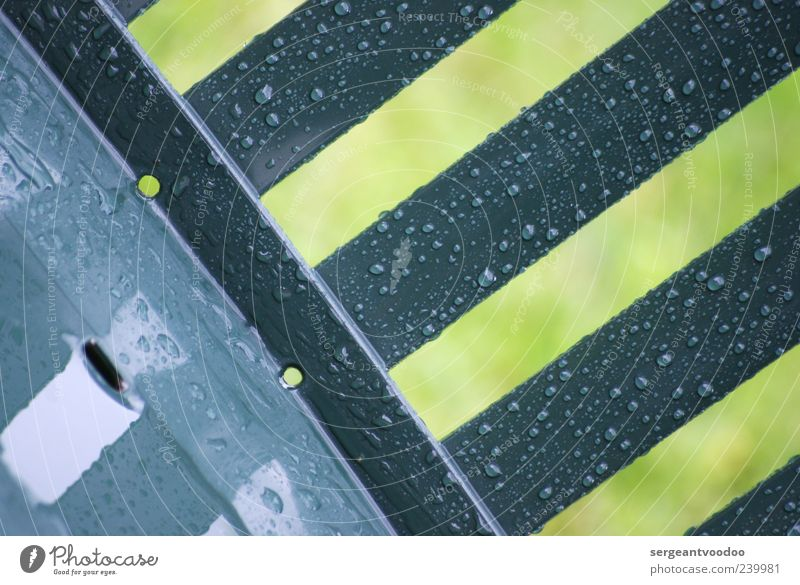 Arch Stanton's rainy garden furniture Garden chair Water Drops of water Weather Rain Plastic Line Stripe Fluid Wet Moody Variable Colour photo Exterior shot