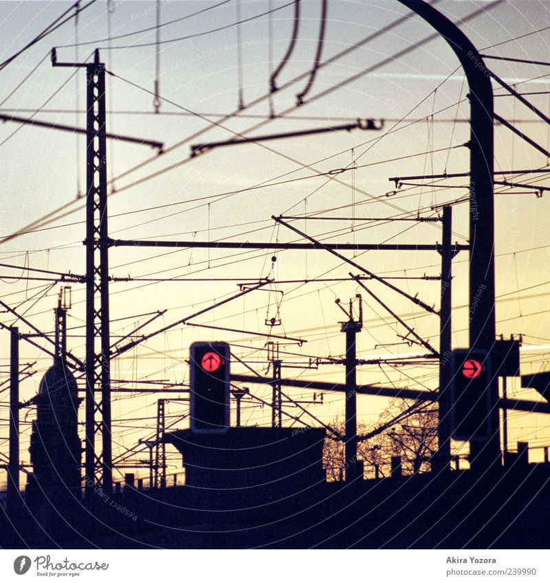top right Traffic light Catenary pole Transport Traffic infrastructure Rail transport Illuminate Blue Yellow Red Colour photo Exterior shot Detail Deserted