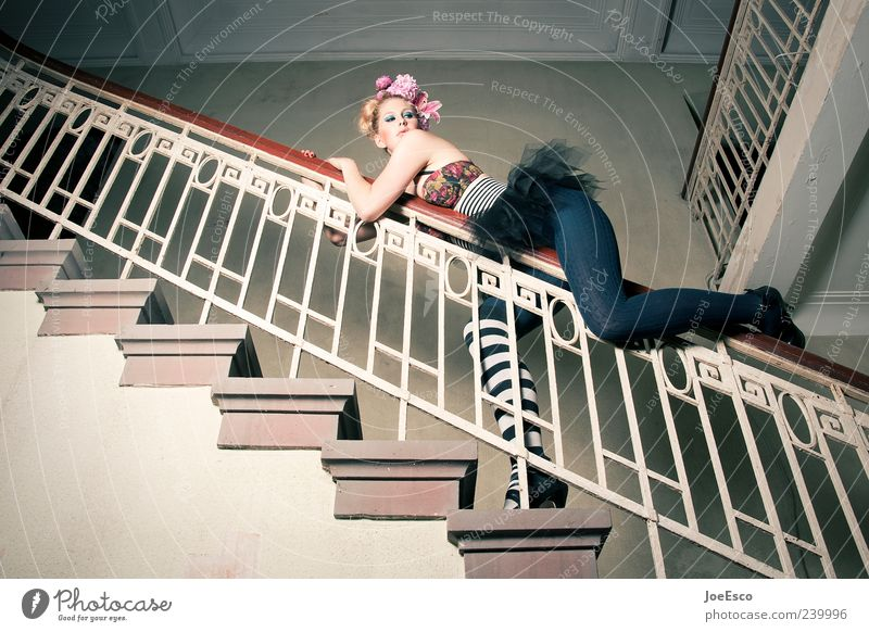 Woman Beautiful Joy Adults Playing Architecture Style Fashion Blonde Exceptional Stairs Elegant Dangerous Esthetic Uniqueness To hold on