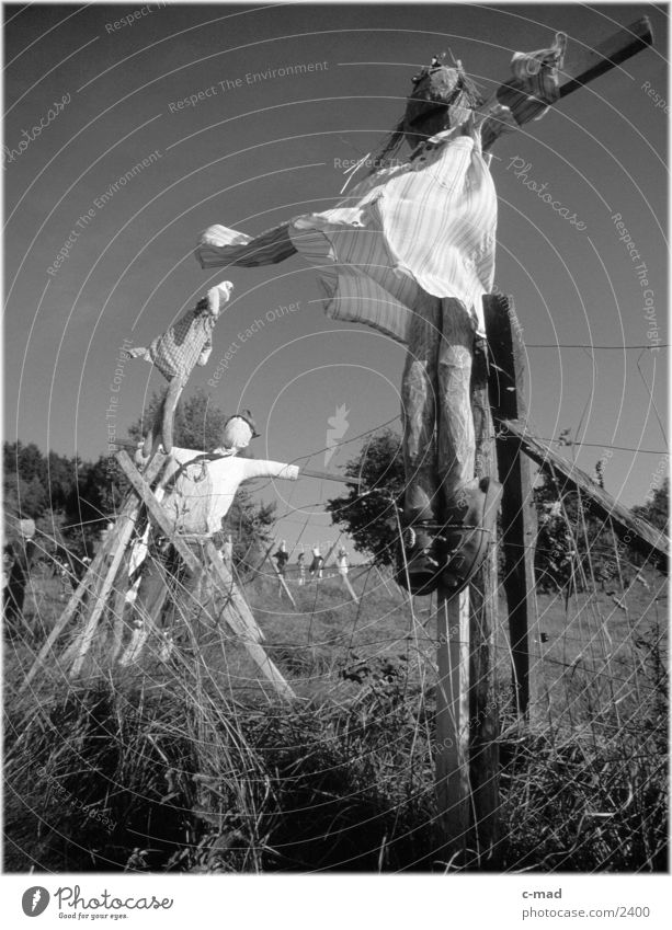 Scarecrows IV Rural Meadow Obscure Landscape Nature Black & white photo