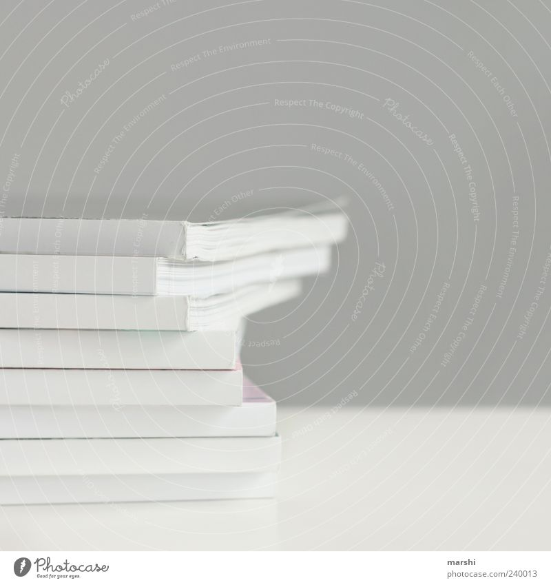 wise reading Gray White Print media Simple Stack Paper Stack of paper Colour photo Interior shot Copy Space right Copy Space top Isolated Image