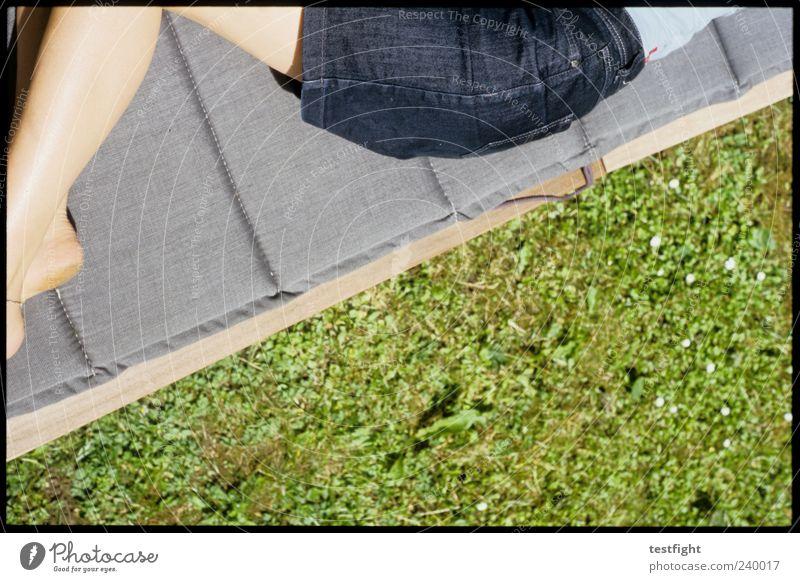 lie further away Summer Sunbathing Feminine Skin Bottom Legs 1 Human being Relaxation Lie Sleep Natural Thin Blue Green Contentment Skirt Denim skirt