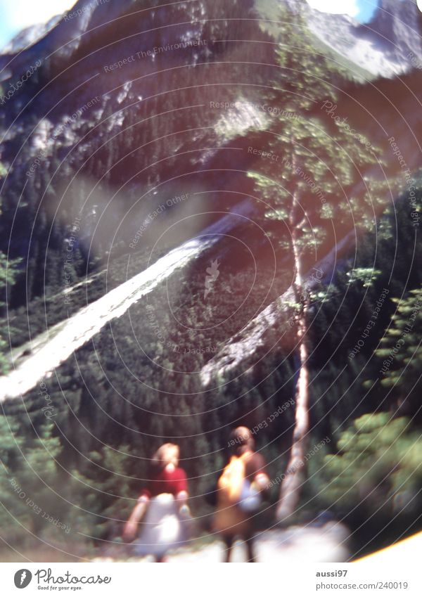 Human being Woman Man Mountain Couple Hiking Break Peak Snowcapped peak Go up