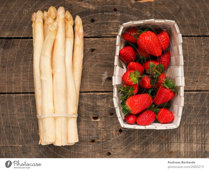 Asparagus and strawberries Dessert Summer Nature Fresh Healthy Delicious health juicy leaf natural nutrition organic red ripe rustic strawberry sweet table