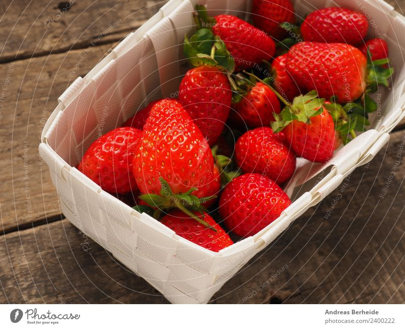 Fresh strawberries Fruit Dessert Organic produce Vegetarian diet Diet Healthy Eating Summer Nature Delicious Sweet table tasty vegetarian Vitamin white wood