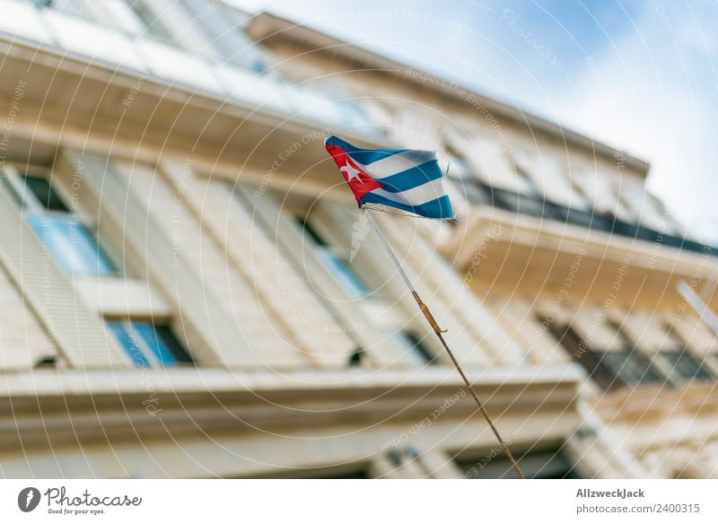 Cuban flag in the wind Havana Landmark Sightseeing Politics and state Socialism Deserted Blue sky Clouds City Vacation & Travel Travel photography Summer Flag