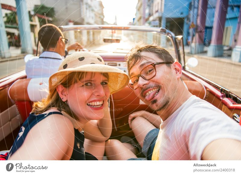 Vacation & Travel Young woman Summer Town Young man Sun Joy Travel photography Street Happy Tourism Couple Trip Island Beautiful weather Cuba