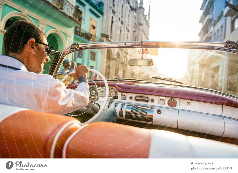 Man driving a vintage car Cuba Havana Island Vacation & Travel Travel photography Trip Sightseeing Driving Highway ramp (exit) Vintage car Rear seat Street Town