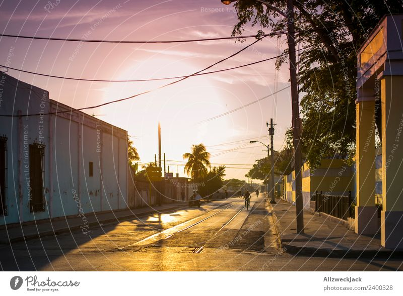 Evening sun on the streets of Cienfuegos Cuba Vacation & Travel Travel photography Street Town Deserted Summer Sunset Dusk Sky Clouds Back-light Hot