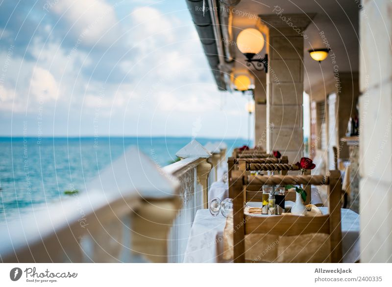 Dining table with sea view in Cienfuegos Cuba Vacation & Travel Travel photography Town Deserted Summer Blue sky Clouds Ocean Water Horizon Extinct Still Life
