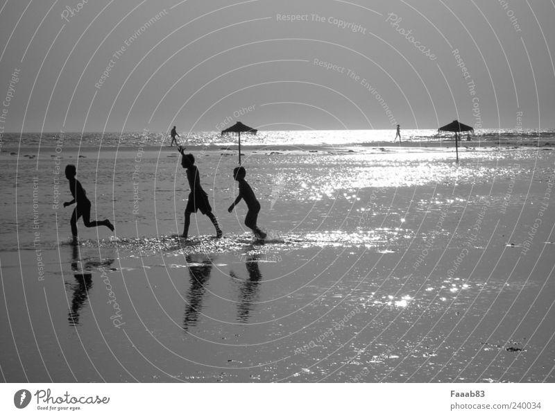Kids of the sun Playing Freedom Beach Ocean Water Summer Coast Glittering Brash Happy Infinity Silver Joy Happiness Contentment Joie de vivre (Vitality) Horizon