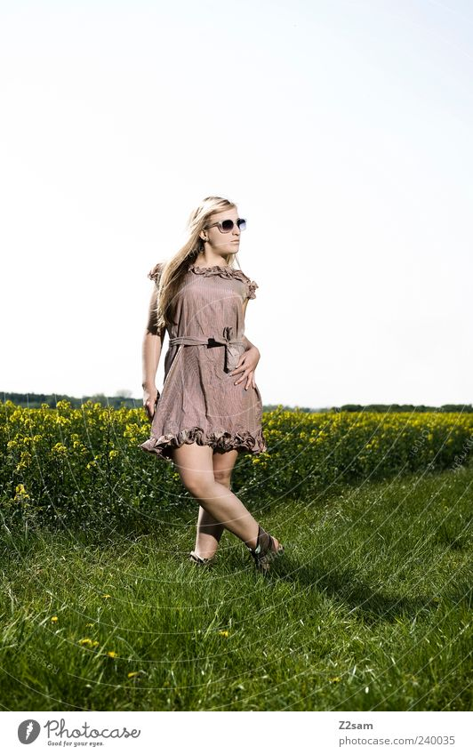 Human being Nature Youth (Young adults) Beautiful Summer Flower Adults Landscape Meadow Feminine Style Fashion Brown Young woman Blonde Field