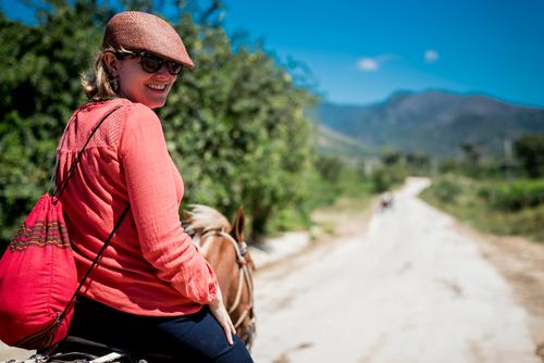 Vacation & Travel Old Young woman Summer Sun Animal Travel photography Street Warmth Retro Historic Horse Cuba Depth of field Blue sky 1 Person