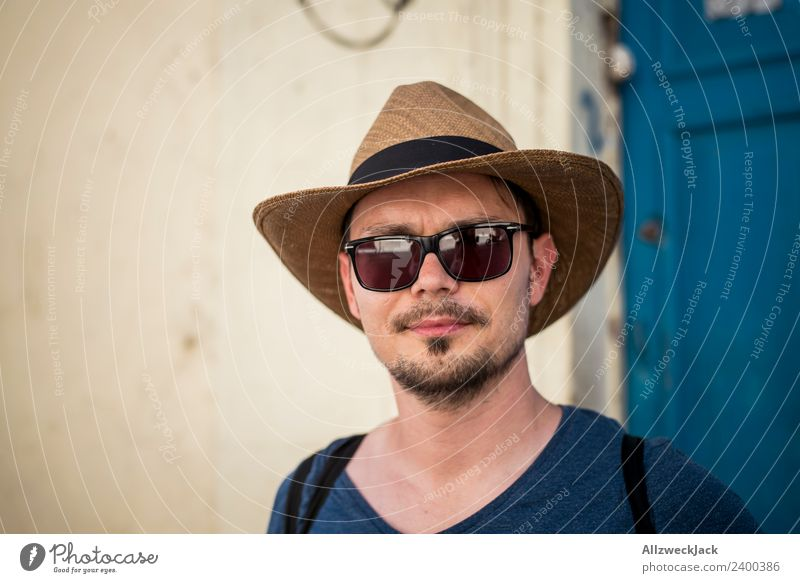 Vacation & Travel Summer Young man Calm Travel photography Contentment Beautiful weather Wanderlust Cuba Hat Sunglasses Havana 1 Person Straw hat