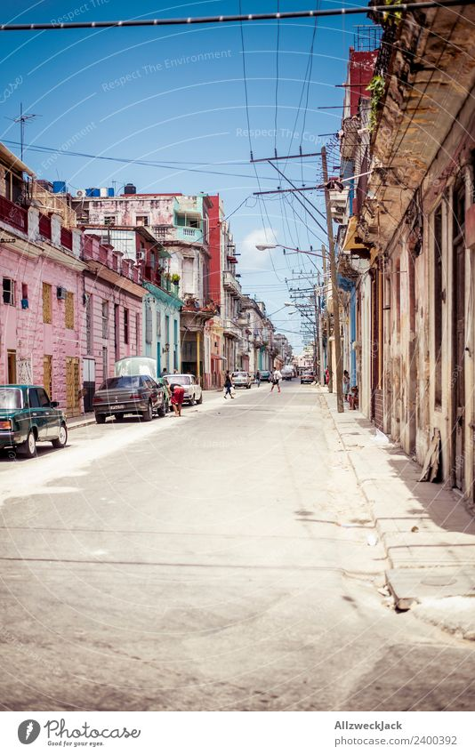 The streets of Havana Cuba Socialism Time travel Street Apartment Building Summer Sun Blue sky Parking Car Vacation & Travel Travel photography Sightseeing Trip