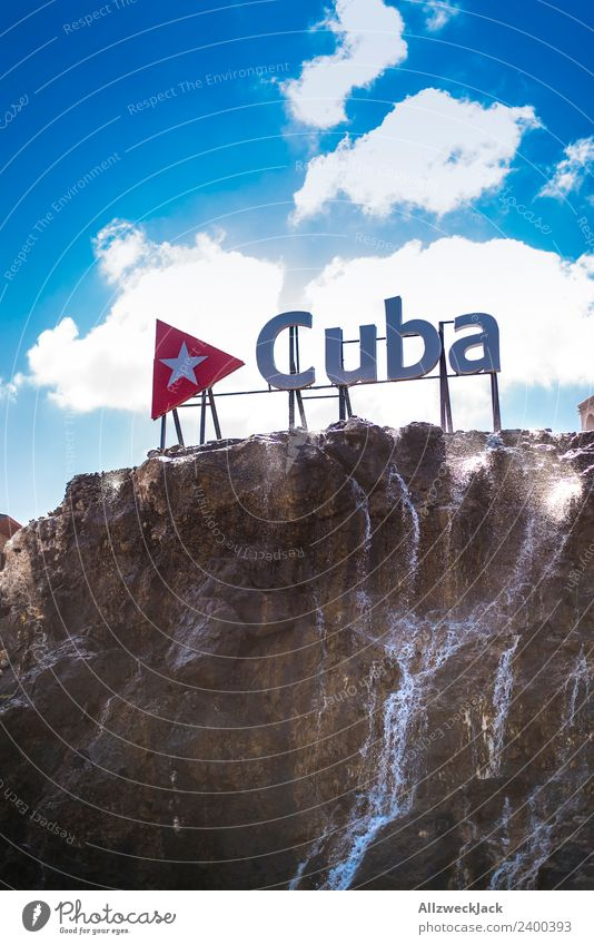 Cuba logo in Havana Beautiful weather Clouds Summer Sun Letters (alphabet) Characters Typography Rock Water Travel photography Vacation & Travel Far-off places