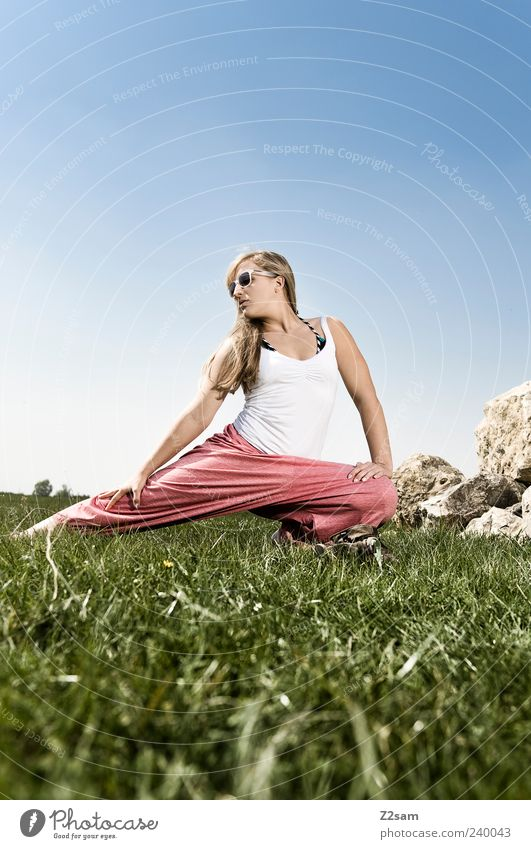 Human being Nature Youth (Young adults) Summer Adults Relaxation Meadow Feminine Style Healthy Young woman Blonde Power Leisure and hobbies 18 - 30 years Lifestyle