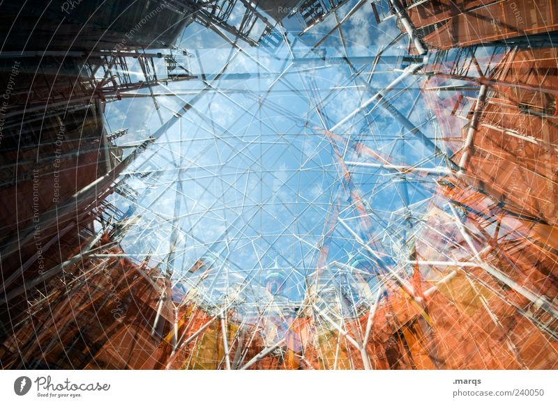 Sky Architecture Building Style Facade Exceptional Large Tall Perspective Change Construction site Uniqueness Manmade structures Chaos Double exposure