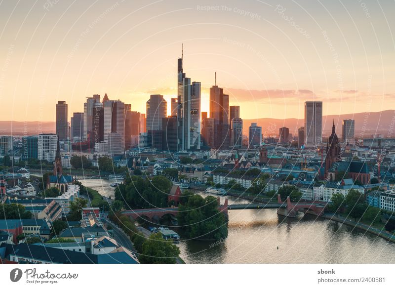 Frankfurt am Main Office Business Town Downtown Skyline High-rise Manmade structures Building Architecture Vacation & Travel City cityscape panorama Bench