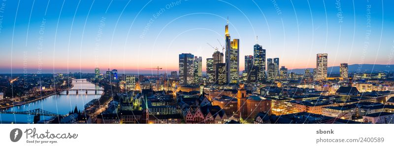 Frankfurt Panorama Business Town Skyline High-rise Architecture Luxury Vacation & Travel City cityscape panorama Bench finance buildings Evening Twilight