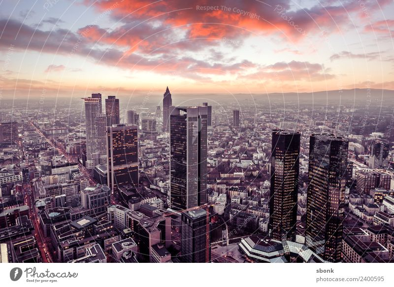 Frankfurt sunset Office Business Town Downtown Skyline High-rise Vacation & Travel City cityscape panorama architecture Bench finance buildings Main river