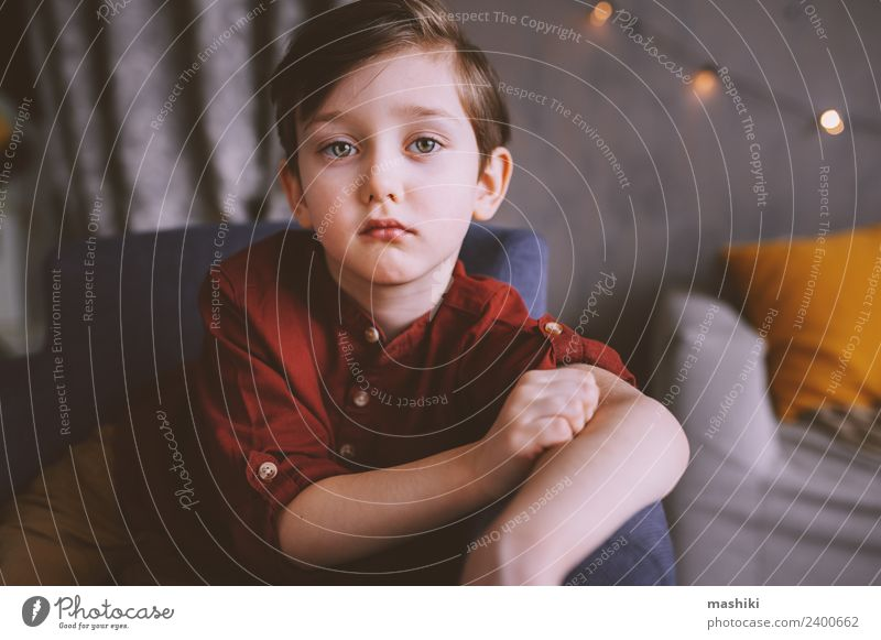 cute sad child boy portrait Child Toddler Boy (child) 3 - 8 years Infancy Emotions Moody Looking Sadness Thought Childhood dream Home Portrait photograph Cute